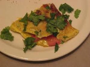 Creamy tomato and Coriander omelette
