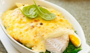 Haddock and Prawns in Cheese Sauce