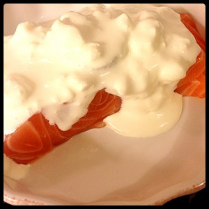 Salmon Slices Baked in Cream