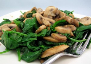 Spinach with Mushrooms