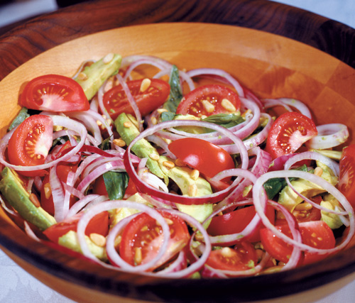 Tomato and Onion Salad with Avocado Dressing